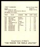 1965 Kahn's  Tony Cloninger  Back Thumbnail