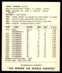 1964 Kahn's  Bob Friend  Back Thumbnail