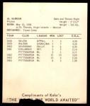 1965 Kahn's  Alvin McBean  Back Thumbnail
