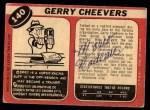 1968 O-Pee-Chee #140  Gerry Cheevers  Back Thumbnail