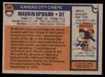 1976 Topps #497  Marvin Upshaw  Back Thumbnail