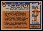 1976 Topps #492  Norm Evans  Back Thumbnail