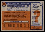 1976 Topps #434  Sam Cunningham  Back Thumbnail
