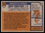 1976 Topps #441  Mick Tingelhoff  Back Thumbnail