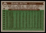 1976 Topps #345   -  Babe Ruth All-Time All-Stars Back Thumbnail