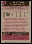 1977 Topps #504  J.V. Cain  Back Thumbnail