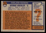 1976 Topps #495  George Buehler   Back Thumbnail