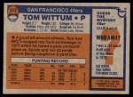 1976 Topps #513  Tom Wittum  Back Thumbnail