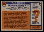 1976 Topps #492  Norm Evans  Back Thumbnail
