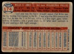 1957 Topps #174  Willie Jones  Back Thumbnail