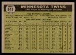 1961 Topps #542   Twins Team Back Thumbnail