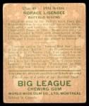 1934 World Wide Gum #45  Horace Lisenbee  Back Thumbnail