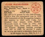 1950 Bowman #124  Clyde McCullough  Back Thumbnail