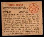 1950 Bowman #103  Eddie Joost  Back Thumbnail