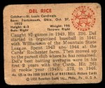 1950 Bowman #125  Del Rice  Back Thumbnail