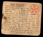 1950 Bowman #182 CPR Sam Zoldak  Back Thumbnail