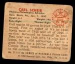 1950 Bowman #213 CPR Carl Scheib  Back Thumbnail