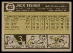 1961 Topps #463 JF Jack Fisher  Back Thumbnail
