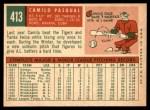 1959 Topps #413  Camilo Pascual  Back Thumbnail