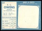 1961 Topps #61  R.C. Owens  Back Thumbnail