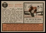 1962 Topps #221  Bill Short  Back Thumbnail