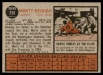 1962 Topps #258  Marty Keough  Back Thumbnail