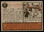 1962 Topps #264  Dick Ellsworth  Back Thumbnail