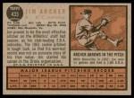 1962 Topps #433  Jim Archer  Back Thumbnail
