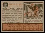 1962 Topps #487  Jerry Lynch  Back Thumbnail
