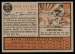1962 Topps #375  Ron Fairly  Back Thumbnail