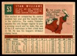 1959 Topps #53  Stan Williams  Back Thumbnail