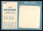 1961 Topps #102  Tom Brookshier  Back Thumbnail
