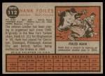 1962 Topps #112 NRM Hank Foiles  Back Thumbnail