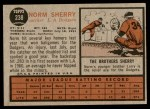 1962 Topps #238  Norm Sherry  Back Thumbnail