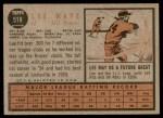 1962 Topps #518  Lee Maye  Back Thumbnail
