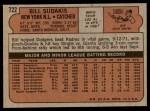 1972 Topps #722  Bill Sudakis  Back Thumbnail