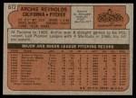 1972 Topps #672  Archie Reynolds  Back Thumbnail