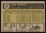 1961 Topps #434  Tom Brewer  Back Thumbnail