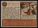 1962 Topps #146 NRM Don Demeter  Back Thumbnail