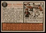 1962 Topps #264  Dick Ellsworth  Back Thumbnail