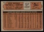 1972 Topps #713  Gene Michael  Back Thumbnail