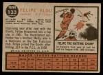 1962 Topps #133 NRM Felipe Alou  Back Thumbnail