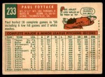 1959 Topps #233  Paul Foytack  Back Thumbnail