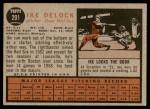 1962 Topps #201  Ike Delock  Back Thumbnail
