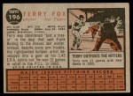 1962 Topps #196 NRM Terry Fox  Back Thumbnail