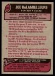 1977 Topps #330  Joe DeLamielleure  Back Thumbnail