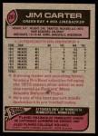 1977 Topps #287  Jim Carter  Back Thumbnail