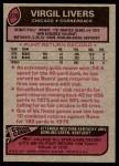 1977 Topps #279  Virgil Livers  Back Thumbnail