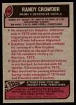 1977 Topps #194  Randy Crowder  Back Thumbnail