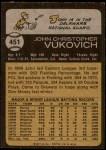 1973 Topps #451  John Vukovich  Back Thumbnail